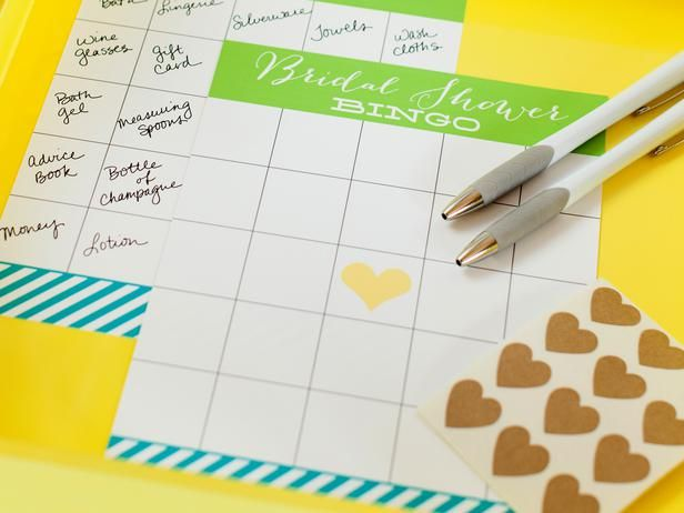 10 Wedding Shower Games and Activities: Download and print blank bingo cards for each guest. Have the guests fill in the blank squares with wedding gifts they think the bride will receive. During gift opening, guests mark off their bingo card as gifts are opened. The center square with the heart is a free space. Give guests a small sheet of heart stickers or a pe...