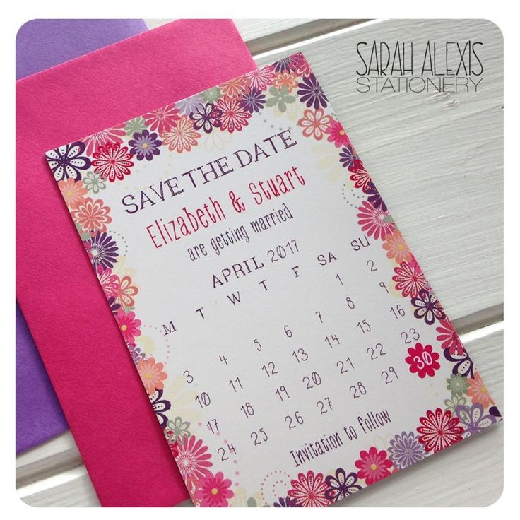 Bright and colourful floral Save the Date Magnet in pinks, purples and coral