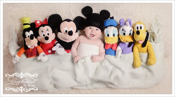 Disney inspired baby photography photo shoot. Mickey Mouse Newborn Walt Disney Disney World Minnie Mouse Baby Florida