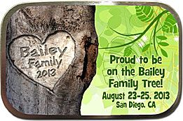 """Family Reunion Favors -  large, inexpensive personalized family reunion mint tins. Your family name is """"carved"""" into the tree!"""