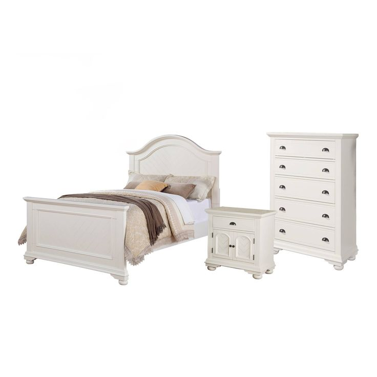 Best 3Pc Full Addison Panel Bedroom Set Dove White Picket 400 x 300