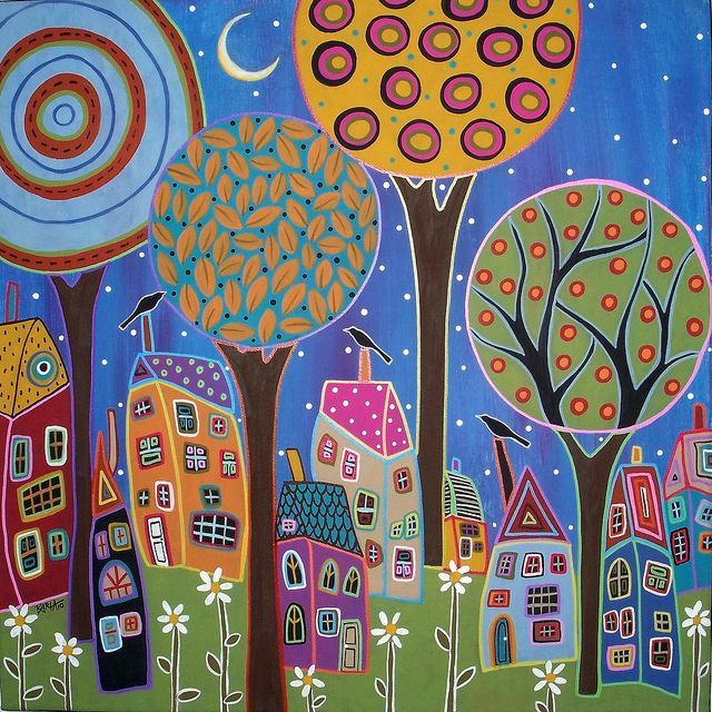 """I love this painter!! This is """"Night Moon"""" by Karla Gerard. Folk art abstract painting."""