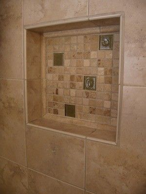 Travertine Shower Shelf Tile Contractor Creative Works Bathrooms Pinterest Bathroom And