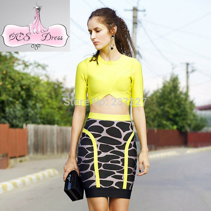 Free Shipping 2016 New Sexy Animal Print Acid Yellow and Black 2 Piece Set Women Two Piece Dress Bodycon Outfits Bandage Dresses >>> Read more reviews of the product by visiting the link on the image.