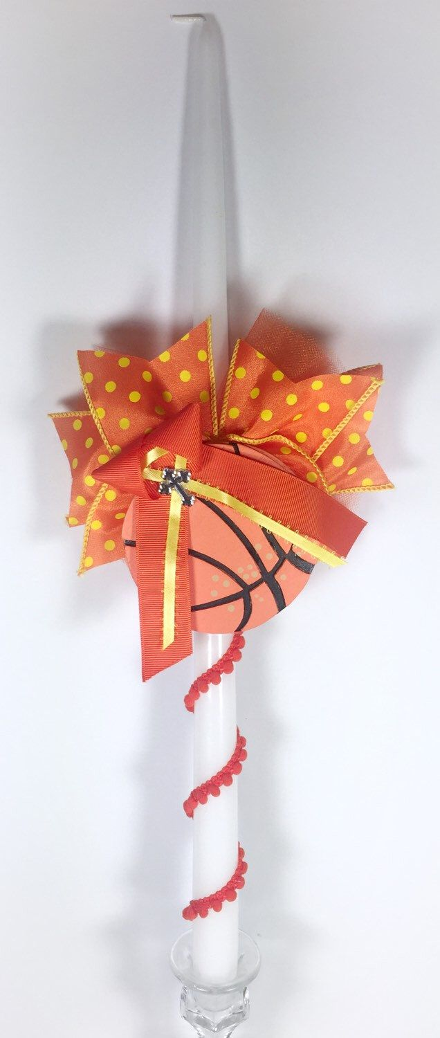 Basketball - Greek Easter Candle (Lambatha) by EllinikiStoli on Etsy https://www.etsy.com/listing/185188463/basketball-greek-easter-candle-lambatha