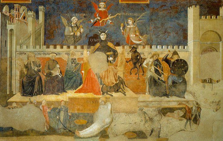 Амброджо Лоренцетти. Аллегория дурного правления. Фреска, деталь. 1337-1339. Сиена, Палаццо Пубблико.