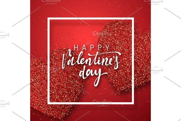 Happy Valentines Day lettering greeting card on red bright heart background. Graphics Happy Valentines Day lettering greeting card on red bright heart background. Festive banner and post by Modern vector