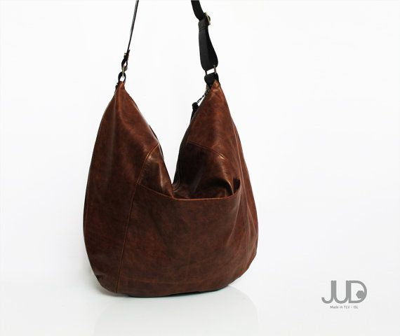 Brown leather bag soft leather purse SALE leather hobo by JUDtlv