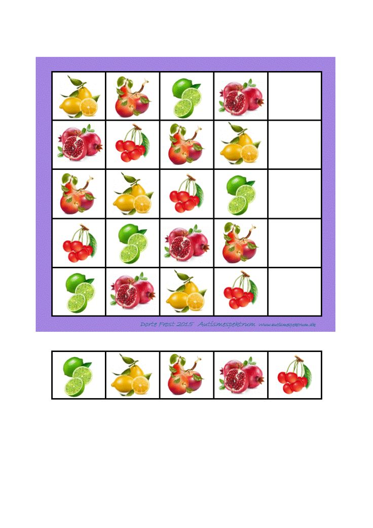 Simple sudoku fruit - finish the last row with the tiles below