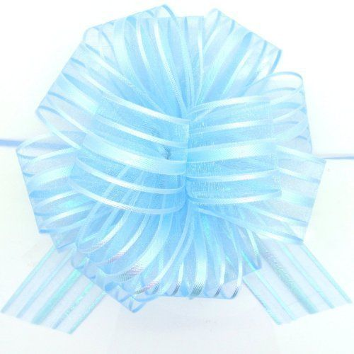 """From 1.69 Organza Pull Bow Light Blue Large 6"""" Pom Pom Pull Bow"""