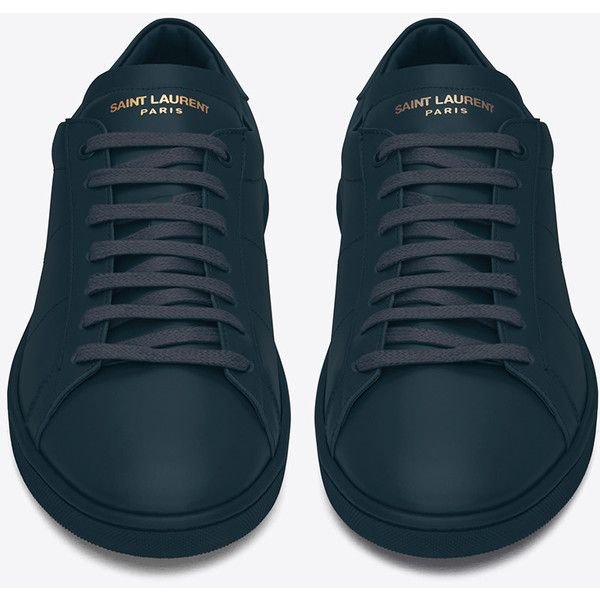 Saint Laurent Sl/01 Court Classic Sneaker In (60800 DZD) ❤ liked on Polyvore featuring men's fashion, men's shoes, men's sneakers and yves saint laurent mens shoes