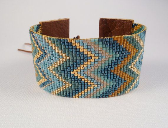 Geometric Chevron Cuff in Turquoise and Golds, Wide Loom Beaded cuff bracelet on Etsy, $63.00