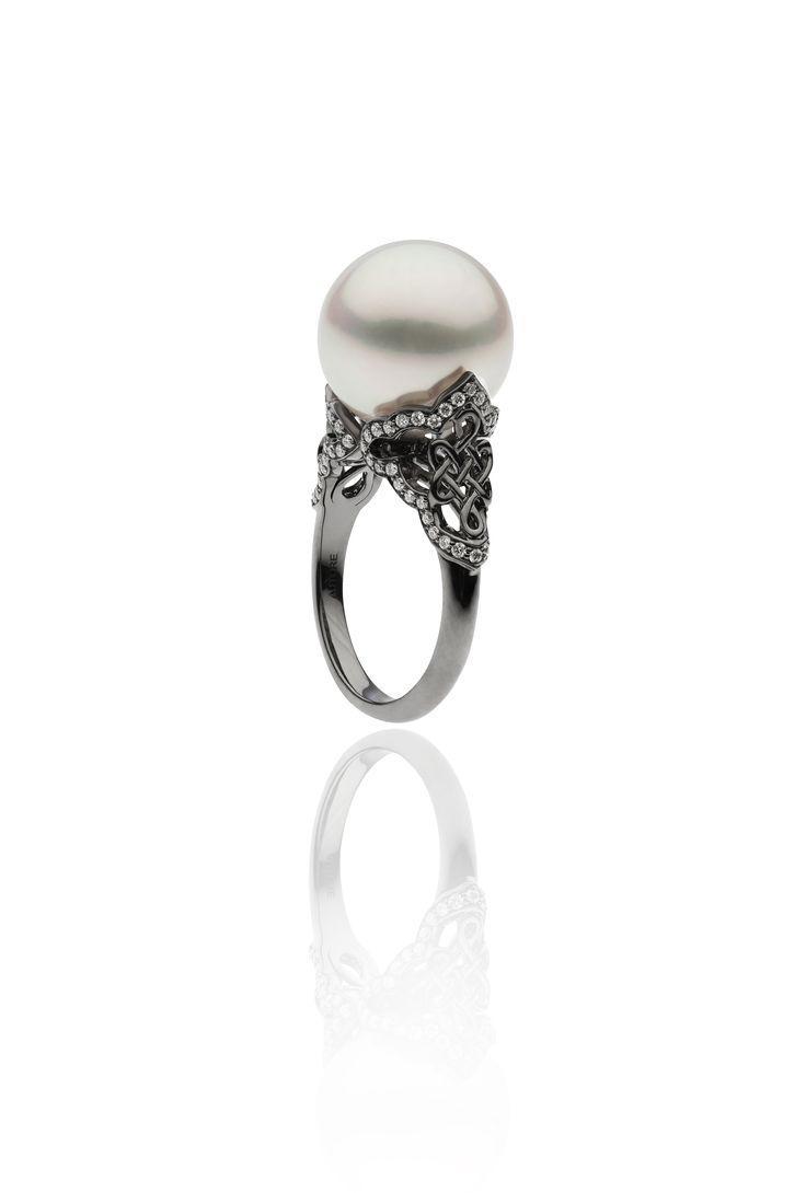 Autore Fine Eternal Knot Ring  18k Black Gold with Diamonds and South Sea pearls. Inspired by the Forbidden City in Beijing