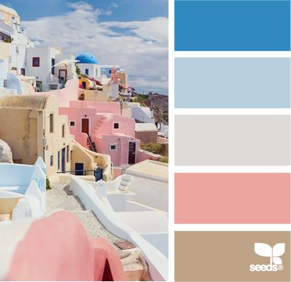 santorini tones color palette. Blue, sky blue, grey, off white, pink rose, tan cream earth hues. This is my favourite pallet for our wedding.