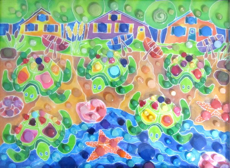Turtles on the Beach - Silk painting with cute buttons. For my sister's birthday.