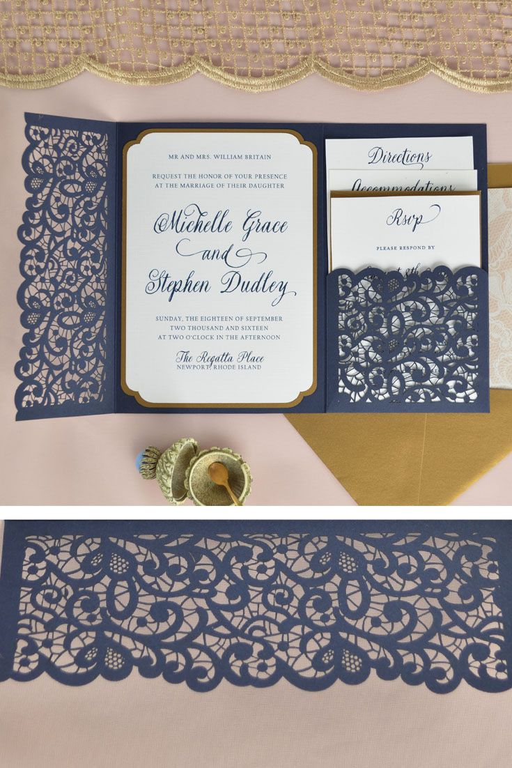 "If your style is elegant and romantic, the ""Lace"" Laser pocket is for you. Beautiful details and over 80 color options, at an affordable price so you can DIY the wedding invitation of your dreams. Cobalt blue and antique gold shown here. 