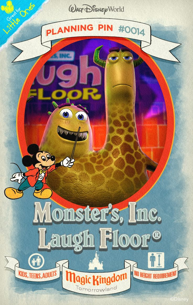 Walt Disney World Planning Pins: Giggle and guffaw to a gaggle of jokes during a live comedy show starring characters from Monsters, Inc. and Monsters University.