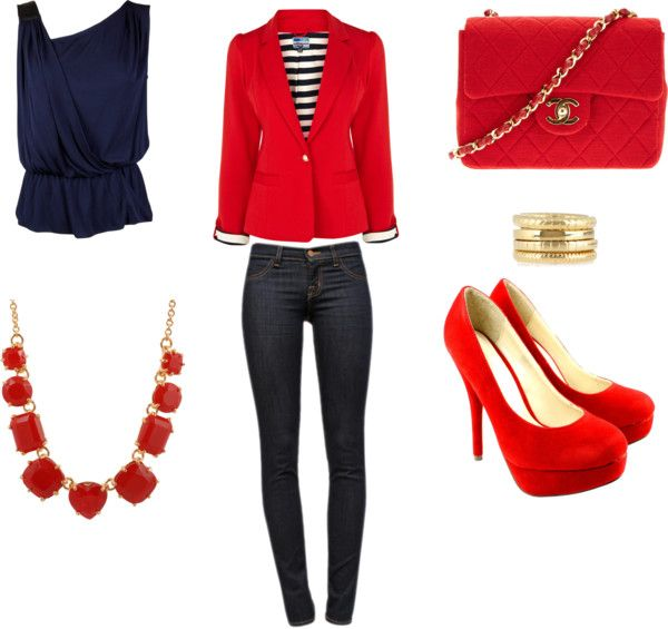 """Red blazer outfit"" by esperanzandrea on Polyvore"