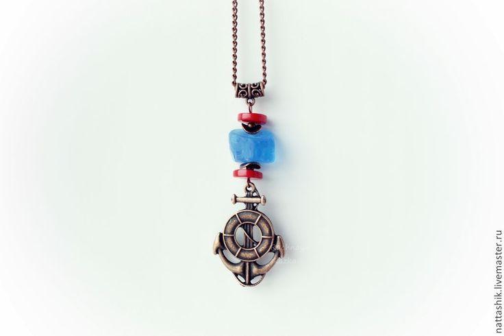 Купить Якорь -подвеска - синий, красный, серый, море, морской стиль, морской, якорь, белый