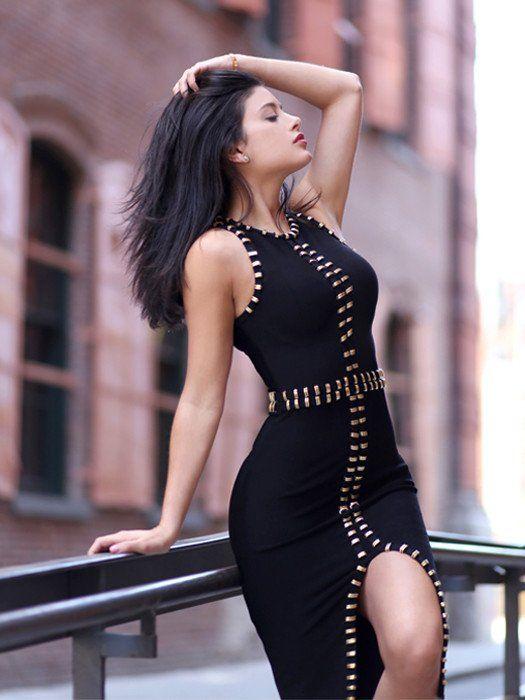 Paulina Black Metal Embellished Detail Bandage Dress