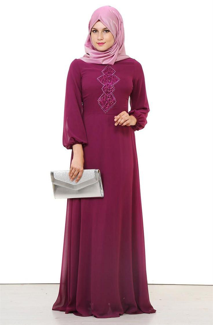 Lady Nur Abiye Elbise-Mor 2050-45