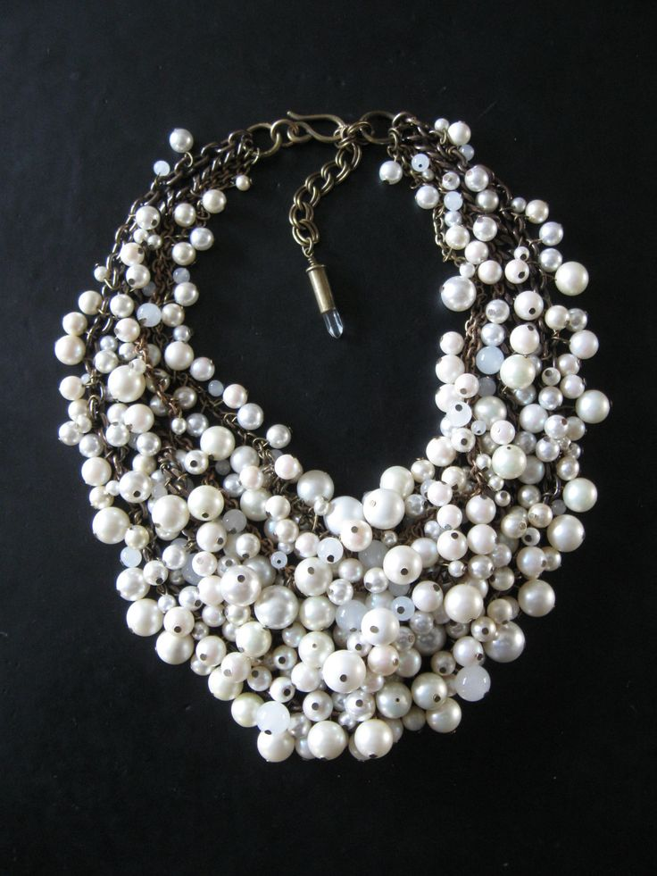 Pearl Statement Necklace - Mermaid Farts - Creamy White and Brass Recycled Faux Pearl Bib - Eco Friendly.