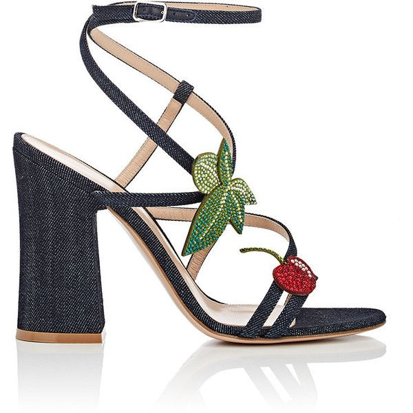 Gianvito Rossi Women's Crystal-Embellished Denim Sandals (€1.200) ❤ liked on Polyvore featuring shoes, sandals, navy, navy blue strappy sandals, navy sandals, strappy high heel sandals, criss cross strap sandals and navy blue sandals