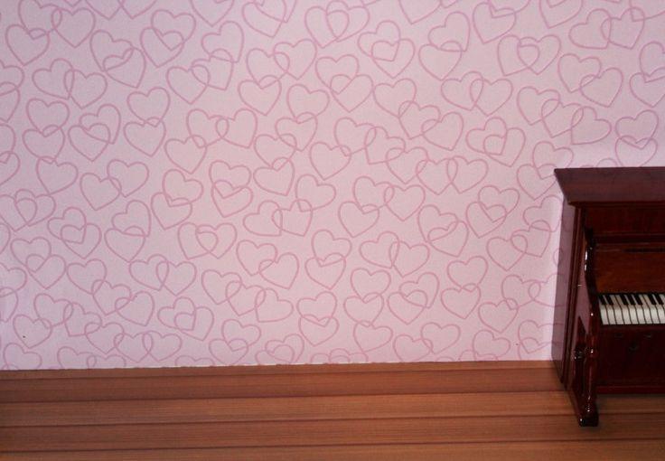 Tapete für´s Puppenhaus, Puder-Rosa Herzen, Puppenstube (#Rosa01)