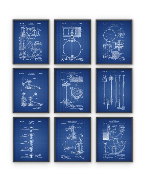 Drum Patent Prints Set of 9 - Drummer Musician Wall Decor - Music Room Decor - Percussion Musical Instruments - Christmas Gift Idea  This set of 9