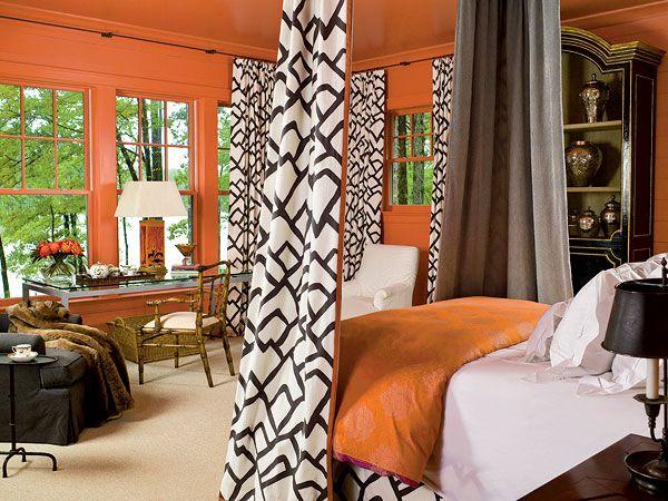Orange Bedroom Walls Give A Twist To Traditional Furnishings Grandin Road  Color Crush On Burnt Orange