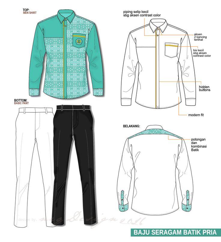 desain baju seragam / kemeja pria / men shirts / batik shirts / technical drawing / flat drawing / men fashion / jasa desain design baju / clothing design. Email : neqdesign@gmail.com