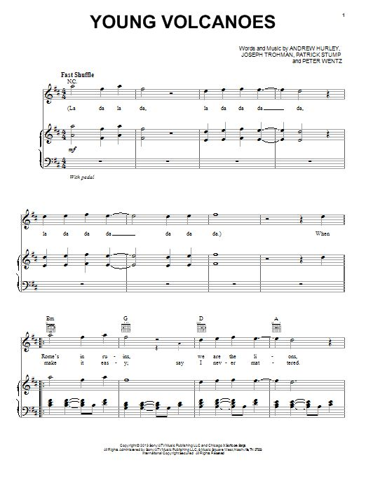 Fall Out Boy: Young Volcanoes - Piano, Vocal & Guitar (Right-Hand Melody)