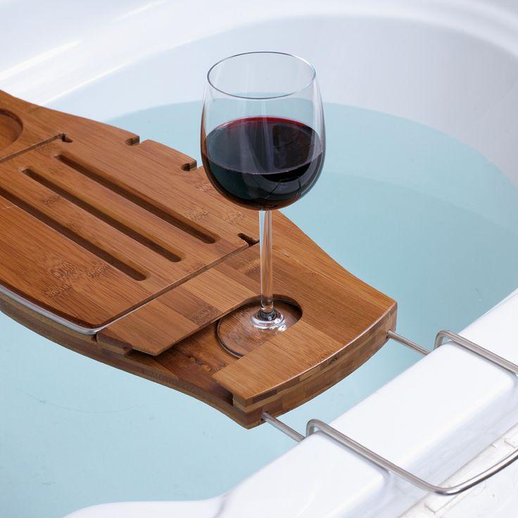Bathtub tray for your bathroom accessories brown wooden for Bathroom caddies accessories