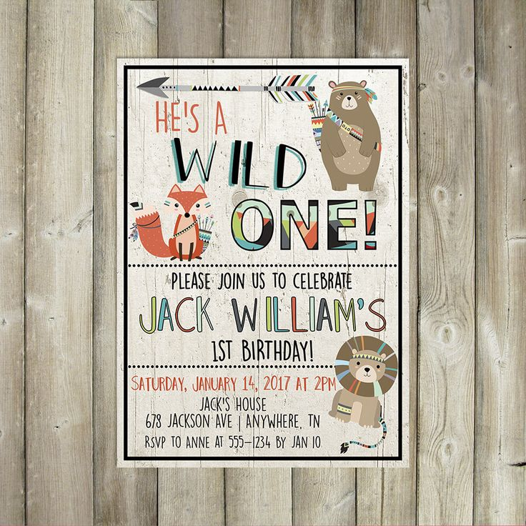 Wild One Birthday Invitation - Boy First Birthday Invite - Boho Tribal Animals - DIGITAL FILE by FavoriteThingsDesign on Etsy https://www.etsy.com/listing/508211217/wild-one-birthday-invitation-boy-first
