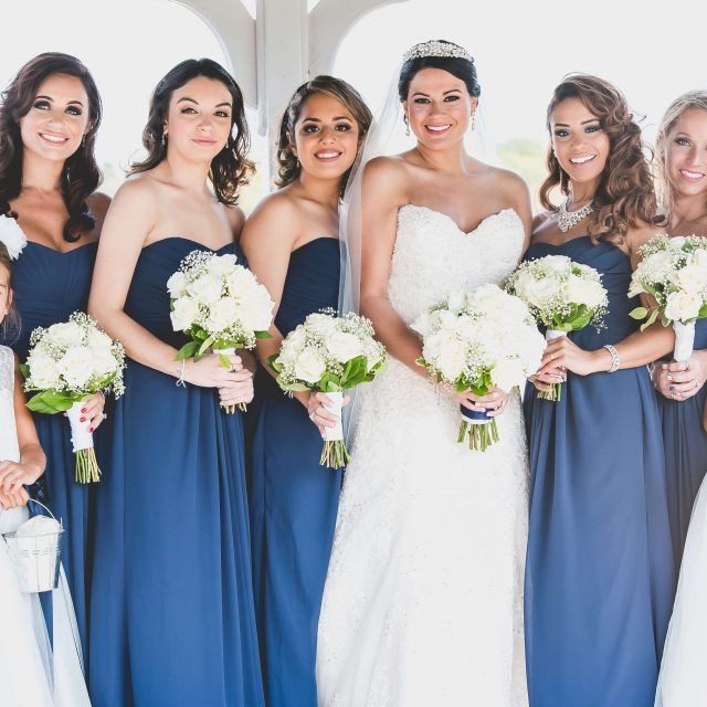 All white bridal and bridesmaids bouquets.  Narcissus Florals.  www.narcissusflorals.com