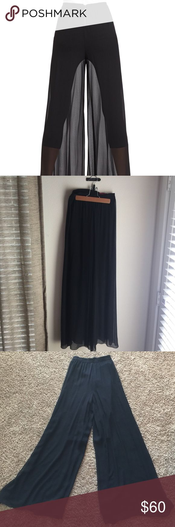 Alice + Olivia black silk chiffon wide leg pants Make a statement in these beautiful black Alice + Olivia silk chiffon sheer wide legged pants size 2! Purchased originally from Nemian Marcus and worn only once or twice. Excellent condition! These pants are stunning and very comfortable at the same time. Make them yours today! ❤️ Alice + Olivia Pants Wide Leg
