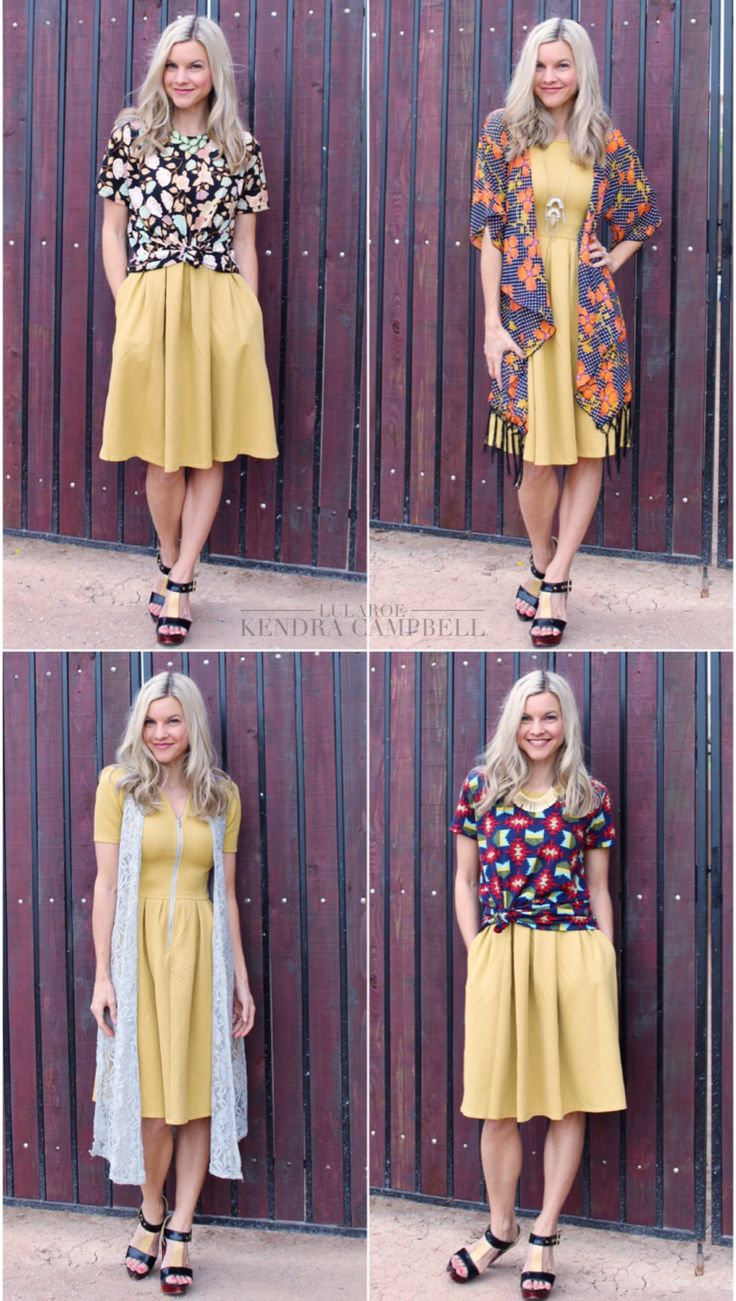 One LuLaRoe Amelia dress styled four ways! I had all these pieces in my closet and could have made even more outfits with this one dress. LuLaRoe is so versatile! Click to shop or for more styling ideas!