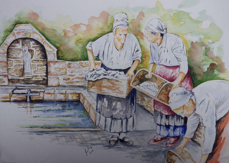 Les lavandières à Saint Pabu