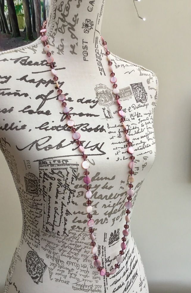 Pretty in Pink!  Long Length Shell and Faceted Glass Bead Necklace