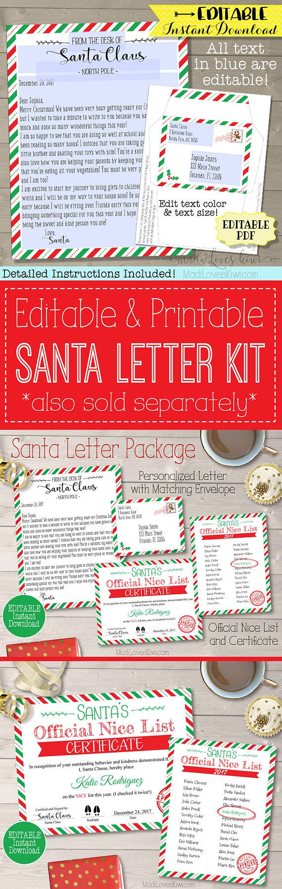 The holidays can be hectic, but this Printable Santa Letter Kit makes it easy to give your children an enchanting Christmas year after year!  | MadiLovesKiwi.com | Santa Letter Package, Letter from Santa Claus Printable, Santa Letter Template, Nice List Certificate Printable, Editable Santa's Nice List, Christmas Mail, Nice List, Santa's Nice List, Nice List Printable, Printable Nice List,  Christmas printables, Stocking stuffers, Christmas Traditions for Kids, Christmas Ideas for Kids