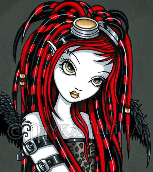 Tattoo Gothic Woman: Cyber Goth Red Tattoo Angel Fairy Signed