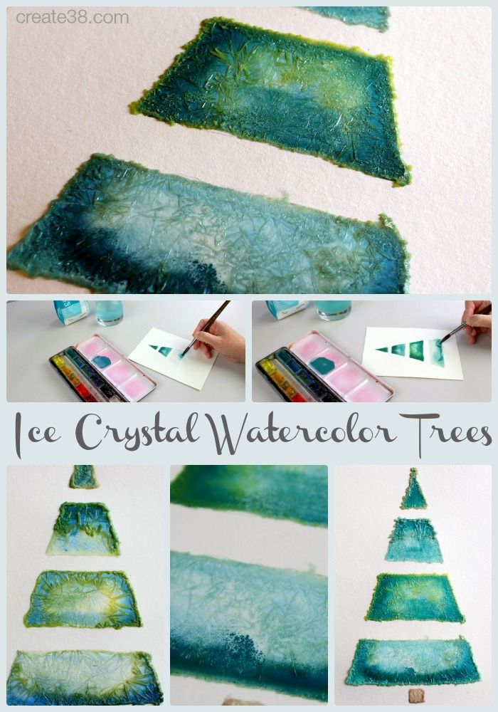 DIY Christmas Cards - Ice Crystal Watercolor Trees - Make this stunning cards using a few simple ingredients and an easy technique.