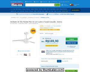 [Casas Bahia] Ventilador de Teto Mondial Maxi Air com Lustre e Função Exaustão - Branco 220V - de R$ 208,00 por R$ 169,90 (18% de desconto)