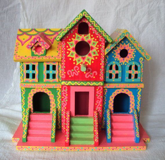 Whimsical Birdhouse Hand Painted Brownstone Style Pink Green Yellow B…