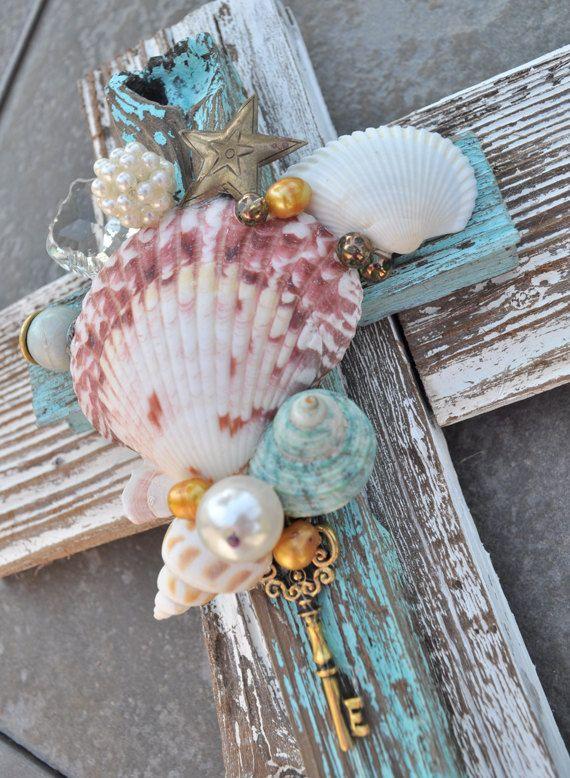 Seashell, beach reclaimed wood unique cross, aqua, seashells, ocean theme, beach decor, beach art