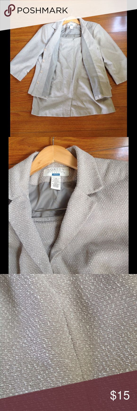Norton light gray women's skirt suit Skirt suit, jacket is fully lined. Please look at 3rd picture for patter . In great condition. My mother-in-law-used it a few times Norton Skirts Skirt Sets