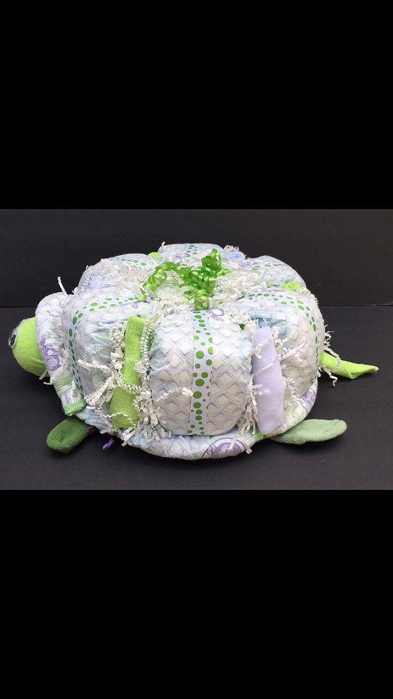 Tortuga de VENTA doble pañal de tortas torta por OBabyDiaperCakesCo