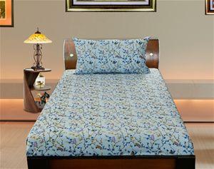 Cotton Bird Printed Single Bedsheet Set W/Pillow Cover With Dekor World