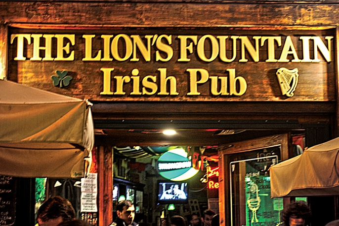 Lion's Fountain! Karaoke night, write on the wall, sign your college shirt & hang out with other American students.