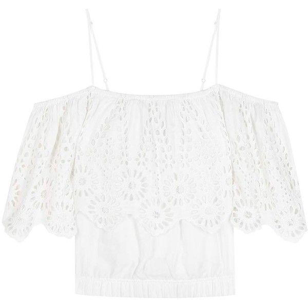 Ganni Yoko Lace-Trimmed Off-the-Shoulder Blouse (1,280 CNY) ❤ liked on Polyvore featuring tops, blouses, white, off shoulder tops, lace trim blouse, white tops, white off the shoulder top and white off shoulder blouse